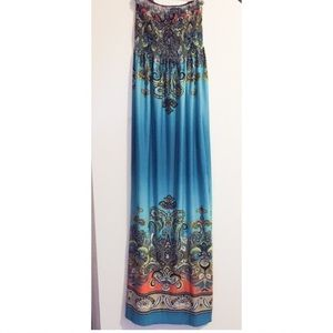 Turquoise and Orange Strapless Maxi Dress